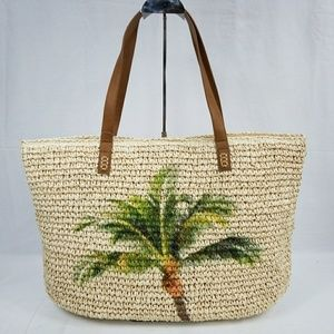 NWT Style & Co Palm Tree Straw Tote
